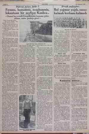 Sahife 10 Teyrinisani 1934 Boğaziçi sizlere ömür: 7 Fırınsız, hamamsız, eczahanesiz, lokantasız bir sayfiye: Kanlıca.. «