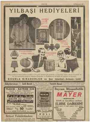 Sahife 12 30 Kânunuevvel 1934 HEDİYELERİ e AKŞAM Yılbaşı hediyenizi henüz intihap etmediniz ise bu güzel eşyalara göz...