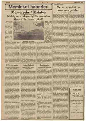 """""""AKŞAM R vE <5, 16 Künunusani 1935 — > ETİ Memleket haberleri - Meyva şehri: Malatya Malatyanın alışverişi Samsundan Mersin"""