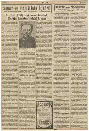 "EE "" > ya a EY "" K AN Güm iğ lm Güdül Sahife 8 AKŞAM 9 Şubat 1935 A . nz Lİ i EE DUN ve YARIN ve Yazan: M. Uygaç Edebi..."