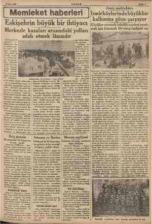 """ga 9 Nisan 1933 AKŞAM ( Memleket haberleri Eskişehrin büyük bir ihtiyacı Merkezle kazaları arasındaki yolları """" ıslah etmek"""
