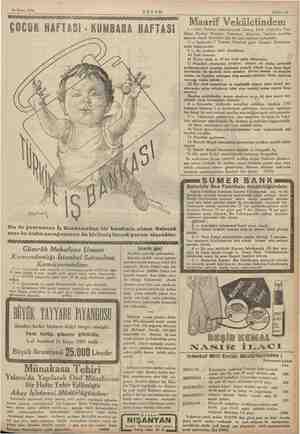 24 Nisan 1935 ÇOCUK HAFTASI - AKŞAM KUMBARA HAFTASI le Siz de yavrunuza İş Bankasından bir kumbara alınız. Gelecek sene bu