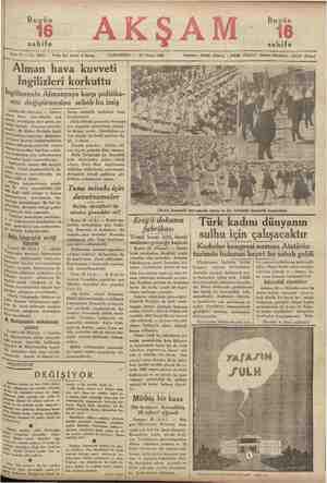 Bugün ahife ip Sene 17 — No, 5933 — Fiatı her yerde 5 kuruş CUMARTESİ — 27 Nisan 1935 Alman hava kuvveti İngilizleri korkuttu