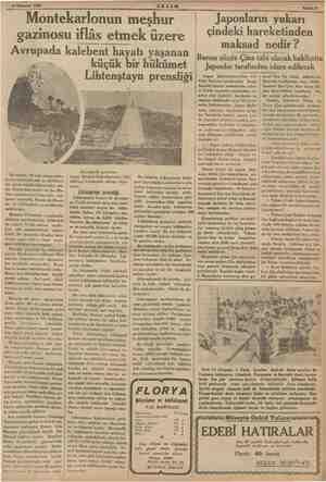 """""""3 Temmuz 1935 © AKŞAM Montekarlonun meşhur gazinosu iflâs etmek üzere Avrupada kalebent hayatı yaşanan Avrupada, Bir çok..."""