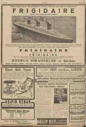 Sahife 12 AKŞAM 6 Eylal1935 , Dünyanın en büyük gemisi olan 71000 tonluk Normandie, buz ihtiyacını mutfaklarında, yemek...