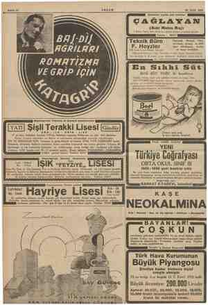 Sahife 12 AKŞAM 29 Eylül 1935 Şehrimizin yegâne sazlı lokantası ÇAĞLAYAN (Eski Mulen Ruj) 5 Birinci Teşrin 1885 Cumartesi...