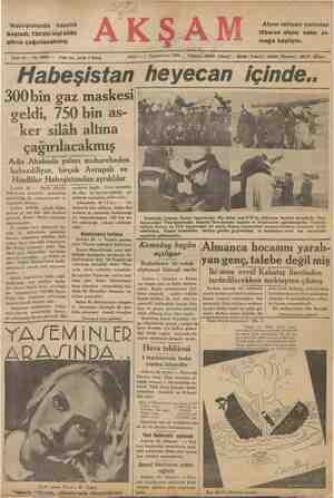 Habeşistanda hazırlık başladı, 750bin kişi silâh altına çağırılacakmış. Sene 18 — No. 6090 — Fiatı her yerde 5 karaş Afyon