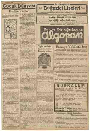 pa me Teşrinievvel 1935 N Çocuk Dünyası Hediye alanlar T eylül 935 tarihli bilmecemizin klini bugün hediye isimlerile...