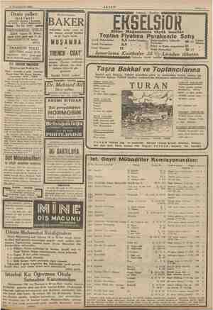 """14 Teşrinievvel 1935 AKŞAM Sahife 11 Galatada - Karaköy EKSELSİOR e Mağazasın Toptan Fiyatına i Perake le """"Satış Çocuk..."""