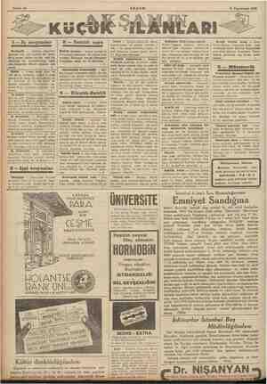 Sahife 14 9 Teşrinisani 1935 'NLARI 1— Iş arıyanlar ve mu erir <Kstib> Tümel âtib — Liseyi ikmal el e çelişabii. İstey — e