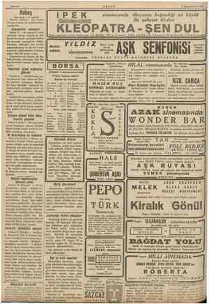 """Sahife 4 AKŞAM 7 Kânunuevvel 1935 Habeş (Baş tarafı 1 ci sahifede) İtalyan uçakları dün akşam MN """"e de bombardıman etmişl"""