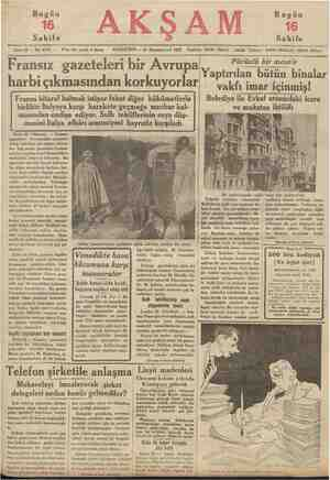Bugün Bugün Sahife Sene 18 — No. 6173 — Fransız gazeteleri bir Avrupa harbi çıkmasından korkuyorlar , Sahife 23 Kânunuevvel