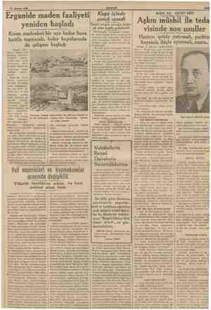 10 Ağustos 1938 AKŞAM Erganide maden faaliyeti yeniden başladı Krom madenleri bir aya kadar hava hattile taşınacak, bakır