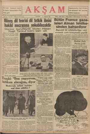 Alman iktisad nazırı M. Şaht Berlinden Pa- rise gitti PERŞEMBE — 27 AĞUSTOS 1936 Güneş dil teorisi dil tetkik ilmini hakiki