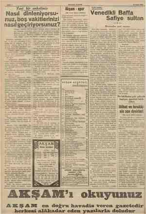 S Sahife 2 AKŞAMIN İLÂVESİ 12 Eylül 1936 Yeni bir anketimiz Nasıl dinleniyorsu- nuz, boş vakitlerinizi nasıl geçiriyorsunuz?