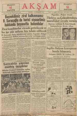 No, 6588 — Fiati her yerde 5 kuruş Sene 19 — bu işe B. Saracoğlu anlaşmasının Balkan olamıyacağı AA) — G, LP. grup 3 —...