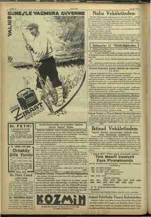 Sahife Ib $ Subat 1937 — GüNE/LE YAĞMURA GüUVENM EMEL Wi 7/4 o. EZ Devlet Demiryolları ve Limanları İşletme Dr. FETHİ Umum