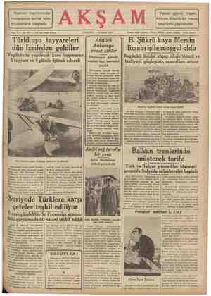 """Balkan trenlerinde müşterek tarife Için müzakere başladı. """" Türkkuşu Sene 19 — No, 6605 — Fiati her yerde 5 kuruş tayyareleri"""