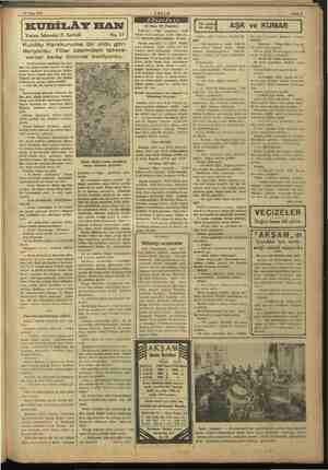 12 Nisan 1937 AKŞAM KUBİLÂY HAN Yazan: İskender F. Sertelli mn No. 17 Kubilây Karakuruma bir ordu gön- deriyordu. Filler