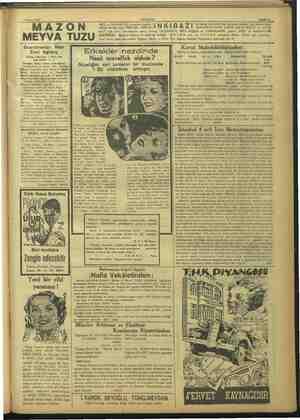 ?1 Nisan 1937 AKŞAM Sahife 11 MAZON MEYVA TUZU MİDE ve BARSAKLARI kolaylıkla boşaltir. »8 edilmiş bir tuz otup MÜMASİL...