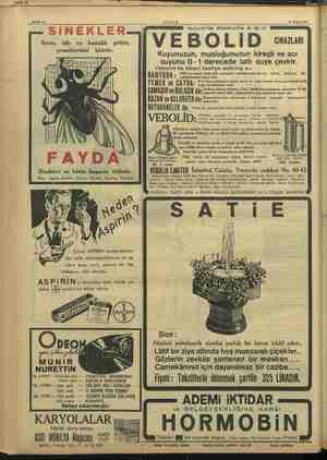 , Sahife 19 , Sahife 16 ii ir CAKŞAM 23 Nisan 1957 TE İsviçre'de Webbolite A. G. In SİNEKLER VEBOLİD cuz Sıtma, tifo ve...