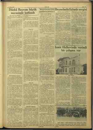 b a Sahife 13 24 Nisan 1937. li AKŞAM Dünkü Bayram büyük | Okucuarm: — Beynelmilel kömür sergisi IZ-—Bize ne bildiriyor? (Baş