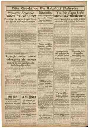 4 Ağustos 1937. Dün Geceki ve Bu Sakhahki Elfaberler Yeni bir dünya harbi Ingiltere, Fransaya dostluk teminatı verdi...