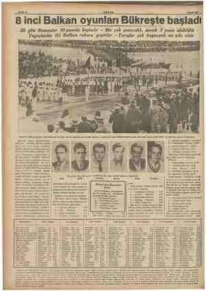 Bahife. 8 AKŞAM 8 Eyiti 1937 8 inci Balkan oyunları Bükreşte başladı İlk gün Rumenler 30 puanla baştadır - Biz çok şansızdık,