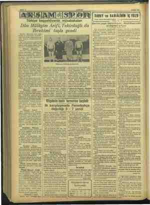 ) 42 Eylül 1937 Türkiye basölücerlik ildbakalan Dün Mülâyim Arifi, Tekirdağlı da Jbrahimi tuşla şla yendi Eminönü...