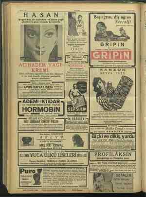 """18 Eyli 01 1937 """"Yağsız kar ve acıbadem ve yarım yağlı gündüz ve gece vedeniz kremlerile Hatırlatırız ki: Şehir ve spor"""
