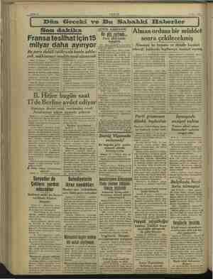 o AKŞAM 6 Mart 1938 Dün Geceki ve Bu Sabahki Elaberler Son dakika Fransateslihat için 15 milyar daha ayırıyor Bu para...