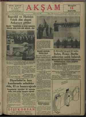 BOĞŞYURU — OVUŞGİĞUNUĞU OUN UĞTULU MGMERUNUNŞ | | Ankaraya sevinç içinde avdet ediyorum ,, diyor aydaki alevilerden ı B. Mussolini'nin yeni bir nutku Matürke telgraf —| Italva. Roma- Berlin