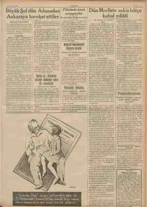 """Sahife 15 25 Mayıs 1938 e AKŞAM P Büyük Şef dün Adanadan """"ifistinde kanlı çarpışmalar Ankaraya hareket ettiler (Baş tarafı"""