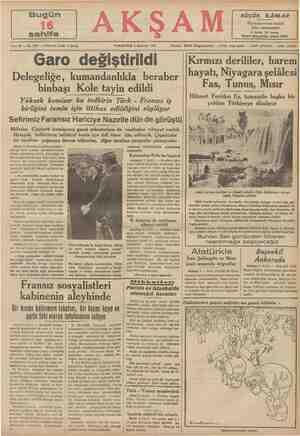 """Sene 20 — No. 7051 — Fiati her yerde 5 kuruş CUMARTESİ 4 Haziran 1938 AKŞAM Telefon: 20565 """"(Başmuharrir) — 20765 (Yazı..."""