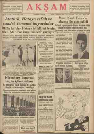 Eği a Amerikada Avrupa demok- B. Hitlerin Nürenberg kon- rasilerine yardım etmek gresinde irad edeceği nutka cereyanı gün