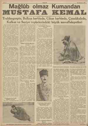 Gn dalin kn inkni yy MA Sahife 6 AKŞAM 15 Teşrinisani 1938 Maslüb olmaz Kumandan MUSTALEA KEMAL, Trablusgarpte, Balkan...