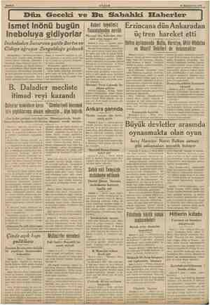 Bahife 2 AKŞAM 10 Kânunuevrel 1933 Dün Geceki ve Bu Sahbahki Eiaberler ismet Inönü bugün Ineboluya gidiyorlar Ineboludan...