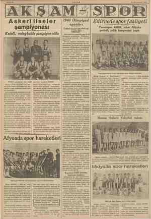 mv 14 Kânunuevvel 1038 Askeri liseler şampiyonası Kuleli, voleybolde şampiyon oldu Voleybol şampiyonu olan Kuleli Büyük...