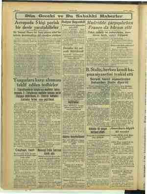 AKŞAM 12 Mart 1939 — — Dün Geceki ve Bu Sabahki Haberler Avrupada 5 kişi parlak (Bulgar Başvekili bir devir yaratabilirler