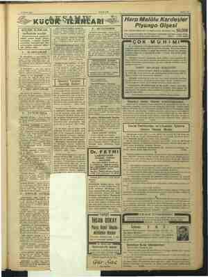 14 Mart 1939 Sahife 13 KÜÇÜK İLÂNLAR tarifesinde tenzilât Damga kanununda yapılan son tadilât üzerine Küçük İlânlar...