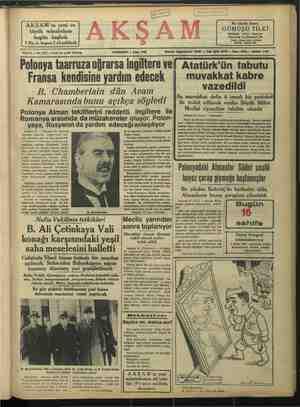 """büyük müsabakası bugün başlad """"Sene 21 — No: 7347 — Fiati her yerde 5 kuruş Polonya taarruza uğrarsa İngiltere ve Fransa"""