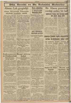 AEŞAM. Dün Geceki ve Bu Sahahki Elaberler Alman -Leh gerginliği | Alman Silezyasında Polonyalılar aleyhinde tezahürler...