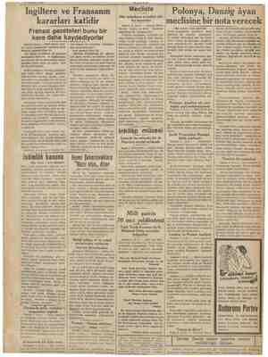 İngiltere ve Fransanın kararları katidir Fransız gazeteleri bunu bir kere daha kaydediyorlar Pariş 3 (A.A) — Kral altıncı...