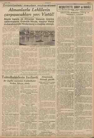 ey ese Önümüzdeki meydan muharebesi AKŞAM Almanlarla Lehlilerin çarpışacakları yer: Vistül! Büyük harpte de Almanlar Varşova