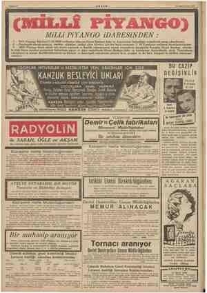 Bahife 12 #KŞAM Milli PIYANGO iDARESİNDEN 11 Teşrinievvel 1939 — Milli Piyango Biletleri 11.10.1939 tarihinden itibaren...