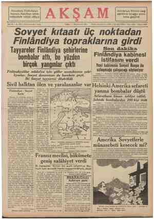 Sovyetlerin Finlândiyaya taarruzu, Amerikayı tahrik mahiyetinde telâkki ediliyor Almanya Rhinin sağ sahlline iki ağır zırhlı