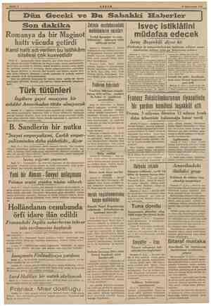 18 Kânunusani 1949 a a Dün Geceki ve Bu Sabahki Elaberler İsveç istiklâlini müdafaa edecek İsveç Beşvekili diyor ki:...