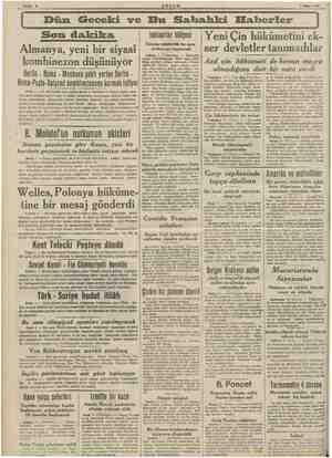 va Sahile 2 EŞÂM 1 Nisan 1940 Dün Geceki ve Bu Sabahki Eabcerler Son dakika Almanya, yeni bir siyasi a kombinezon düşünüyor