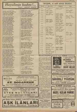 """i i Sahife 4 23 Mart 194) Hayalim ın kadını!... """"AKŞAM, ın milli küme fikstürü j   Tarih İstanbul Ankara İzmir Yazan:..."""