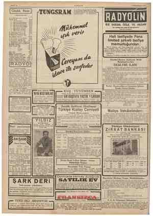 "EE EE Sahife 4 AKŞAM 3 Birincikânun 191 LE ""e 7,5 983 Türk borcu 1, IL MM, Kupa kesik 2325 1933 ikramiyeli a » > 1933..."